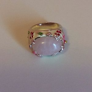 Painted enamel ring in .925 silver